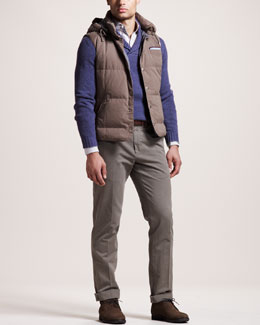 Brunello Cucinelli Shawl-Collar Sweater, Hooded Vest, Striped Oxford Shirt & Basic Flat-Front Pants