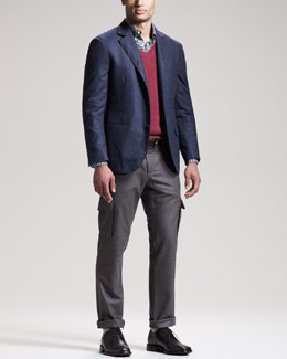Brunello Cucinelli Micro-Houndstooth Sport Coat, Two-Ply Cashmere Sweater & Slim Flannel Cargo Pants