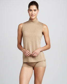 Hanro Light Merino Sleeveless Turtleneck & Boyshorts, Silver