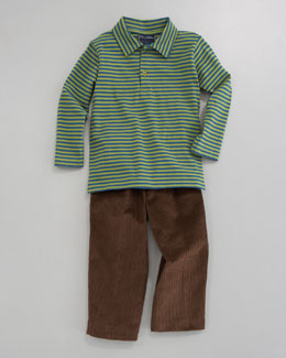 Oscar de la Renta Striped Long-Sleeve Polo & Fine-Wale Corduroy Pants