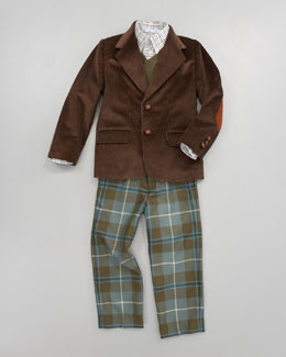 Oscar de la Renta Corduroy Blazer, Cashmere Sweater, Check Shirt & Classic Plaid Trousers