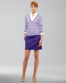 Akris punto Poplin-Inset Striped Knit Sweater & A-Line Twill Skirt