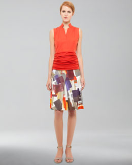 Akris punto Sleeveless Ruched-Cummerbund Top & Printed A-Line Skirt