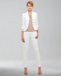 Akris punto Grosgrain-Trimmed Jacquard Jacket, Accordion Pleated Tee & Fabia Tech-Twill Pants