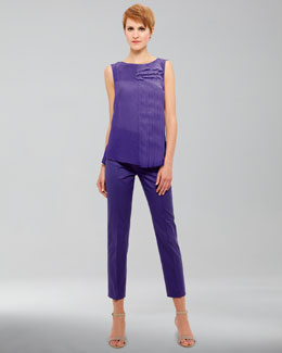 Akris punto Asymmetric-Ruffled Blouse & Franca High-Waist Cropped Pants