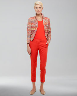 Akris punto Tweed Peplum Jacket, V-Neck Back-Zip Shell & Frankie Cuffed Pants