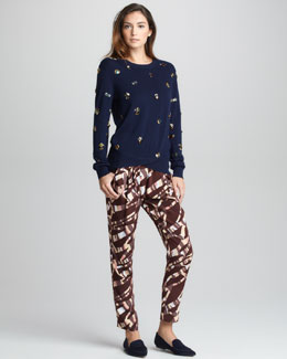 3.1 Phillip Lim All Eyes on You Pullover & Tiger-Print Silk Pants