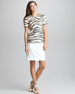 3.1 Phillip Lim Zebra-Print Leather Tee & Grosgrain-Waist Skirt
