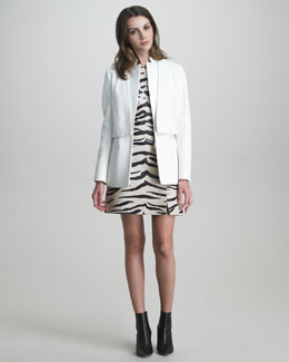 3.1 Phillip Lim Layered Tuxedo Jacket & Zebra-Print Leather Dress