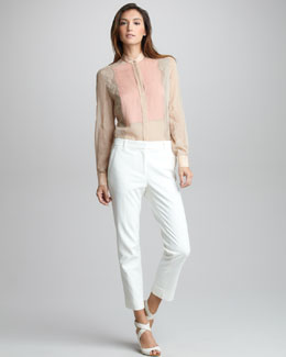 3.1 Phillip Lim Peek-a-Boo Lace Collage Shirt & Cropped Pencil Trousers