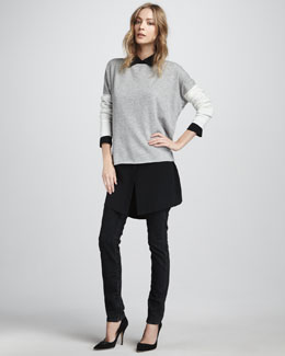 Vince Colorblock Sweater, Oversize Blouse & Slim Jeans