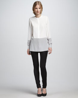 Vince Silk Colorblock Blouse & Textured Leather Jeans
