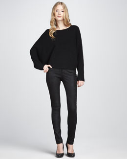 Vince Ribbed Boat-Neck Sweater & Textured Leather Jeans
