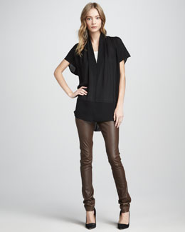 Vince Draped Silk Top & Textured Leather Jeans