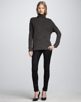 Vince Honeycomb Turtleneck & Textured Leather Jeans