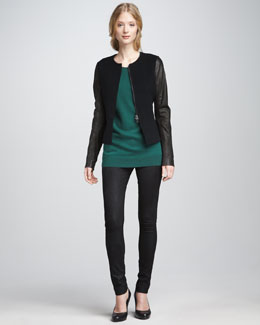 Vince Leather-Sleeve Jacket, Loose Cashmere Sweater & Textured Leather Jeans