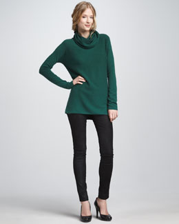 Vince Cowl-Neck Cashmere Sweater & Textured Leather Jeans