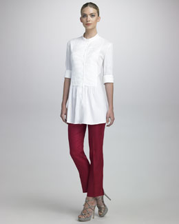 Armani Collezioni Pleated-Bib Poplin Tunic & Cropped Linen Gabardine Pants