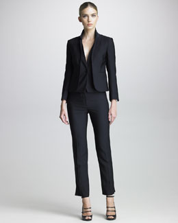 Armani Collezioni Trompe l'Oeil Layered Jacket & Cropped Pinstripe Pants