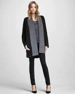 Vince Double-Face Coat, Metallic Sweater & Slim Jeans