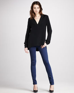 Vince Trapunto-Placket Top & Skinny Jeans