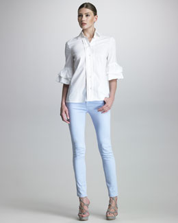 Armani Collezioni Ruffle-Sleeve Poplin Blouse & Five-Pocket Slim Jeans