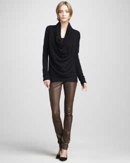 Vince Draped Knit Sweater & Textured Leather Jeans