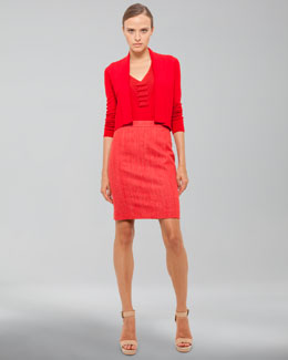 Akris Long-Sleeve Cropped Cardigan, Sleeveless V Neck Shell & Pencil Skirt