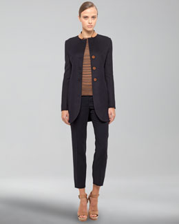 Akris Leather-Collar Jacket, Long-Sleeve Striped Top & Frances Medium-Rise Pants