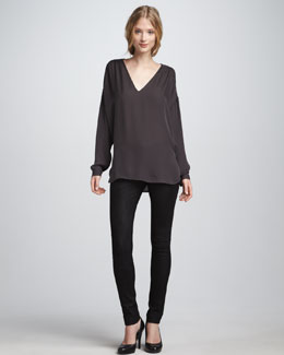 Vince Beaded Silk Top & Textured Leather Jeans