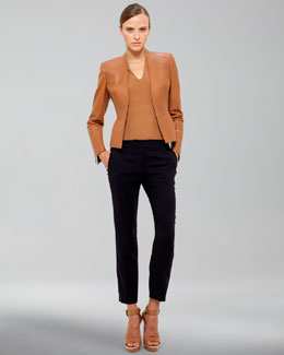 Akris Cropped Leather Jacket, Three-Quarter Sleeve Tee & Frances Medium-Rise Pants