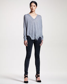 Alexander Wang Draped Merino Sweater & Metallic Stretch Jeans