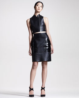 Alexander Wang Leather Biker Vest & Croc-Pocket Skirt