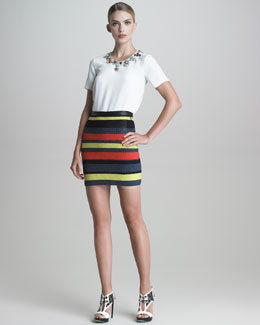 Jason Wu Jeweled-Collar Silk Blouse & Crochet-Striped Pencil Skirt