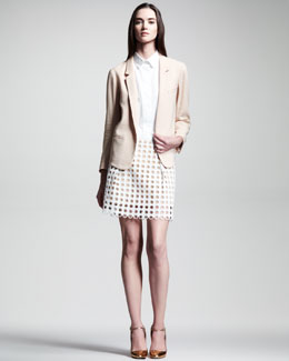 Chloe Stretch-Panama Blazer, Crepe de Chine Sleeveless Blouse & A-Line Eyelet Skirt