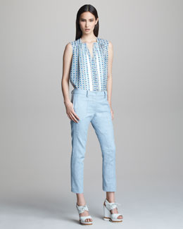 Derek Lam Sleeveless Printed Silk Blouse & Denim Cropped Trousers