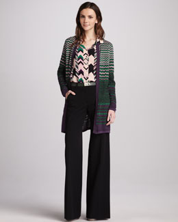 M Missoni Zigzag-Stripe Long Cardigan, Zigzag Silk Blouse & Wide-Leg Stretch-Wool Pants