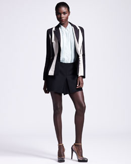 Lanvin Vertical-Striped Jacket, Sleeveless Frayed Pintucked Blouse & Short Skort