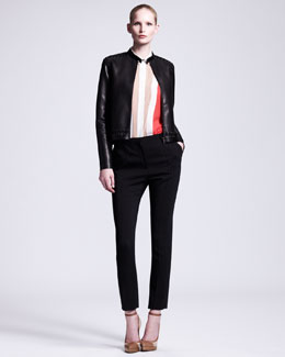 Lanvin Whipstitched Leather Jacket, Collared Colorblock Blouse & Slim Cropped Pants