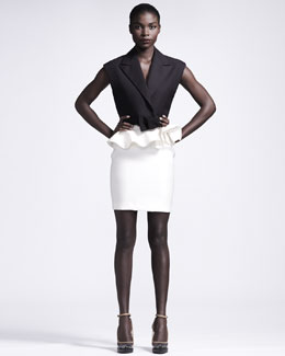 Lanvin Bow-Front Sleeveless Jacket & Ruffle-Waist Skirt