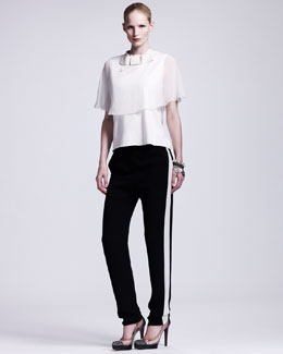Lanvin Chiffon-Capelet Top & Tuxedo-Striped Cuffed Pants