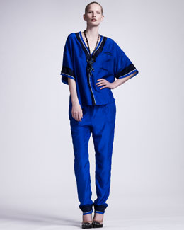 Lanvin Silk Satin Pajama Top & Elastic-Cuffed Satin Pants