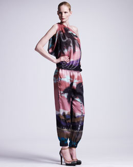 Lanvin Tropical-Print One-Shoulder Top & Elastic-Cuffed Pants