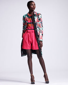 Lanvin Floral-Print Raincoat & Bow-Front Pleated Shorts