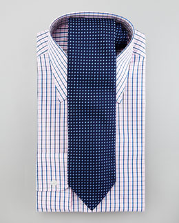 Charvet Check Dress Shirt & Dashes Tie