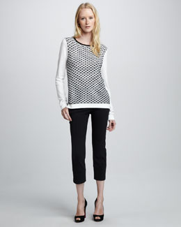 Tibi Mesh Sweater & Slim-Fitting Pants
