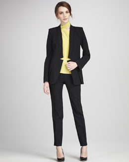 Halston Heritage Notch-Front Blazer, Scarf-Neck Top & Slim Tailored Pants