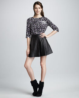 MARC by Marc Jacobs Exeter Printed Top & Sergeant Leather Skirt