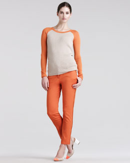 Reed Krakoff Thermal Baseball Sweater & Skinny Compact-Canvas Pants