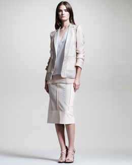Reed Krakoff Organza/Mesh Blazer, Layered V-Neck Silk Blouse & Python/Leather Skirt